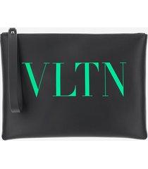 valentino designer men's bags, black large vltn calfskin pouch