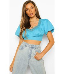 geweven crop top met kanten zoom en pofmouwen, aqua