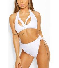 mix & match split front triangle bikini top, white