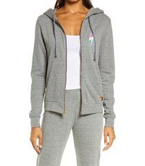 women's aviator nation bolt zip hoodie, size large - grey
