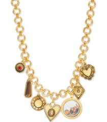 "steve madden gold-tone crystal & stone multi-charm 20"" statement necklace"