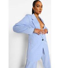 oversized mansy blazer met krijtstrepen, powder blue