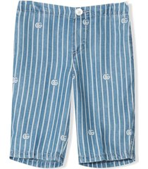 gucci blue lyocell trousers