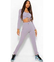 tall geplooide crop top met lange mouwen en legging set, grey