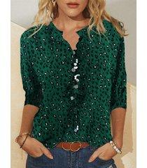 camicetta a maniche lunghe con colletto alla coreana stampa leopardata per donna
