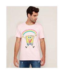 camiseta masculina bob esponja arco-íris manga curta gola careca rosa claro