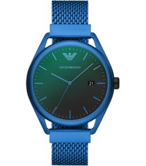 emporio armani men's blue aluminum mesh bracelet watch 43mm