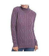 100% alpaca pullover, 'dusty lilac charm' (peru)