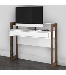 mesa escrivaninha 1 gaveta az1007 branco/nogal - tecno mobili