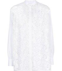 valentino technical poplin and macramé shirt