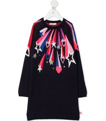 billieblush shooting star-jacquard sweater dress - blue