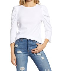 women's treasure & bond puff sleeve thermal top, size x-large - white