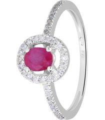 anello in oro bianco, rubino 0,39 ct e diamanti 0,19 ct per donna