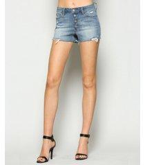 vervet high rise button up cut off jean shorts