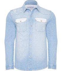 jaqueta masculina jeans manga longa - azul