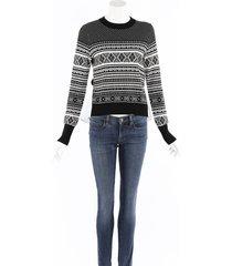 veronica beard alps mixed media black pleated sweater black sz: s