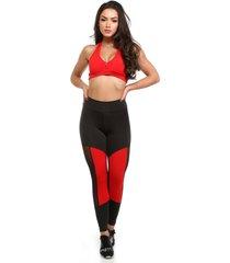 calça legging galvic preta com detalhe neon com tule vermelho