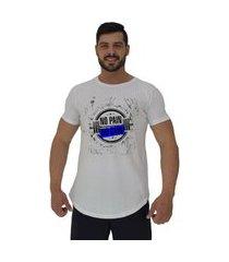 camiseta longline alto conceito halter no pain no gain branco