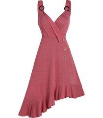 asymmetric o ring flounce surplice dress