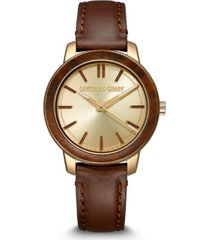 original grain women's brown genuine leather strap watch 36mm