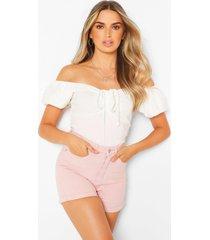 denim korte broek met hoge taille en pasteltinten, roze