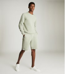 reiss belsay - garment-dyed jersey shorts in soft sage, mens, size xxl