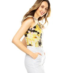 crop top flores amarillo/rosa