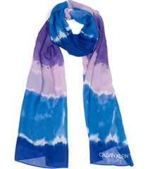 calvin klein tie-dyed striped scarf