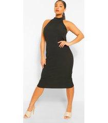 midi-jurk met extra geribbelde halterhals, zwart