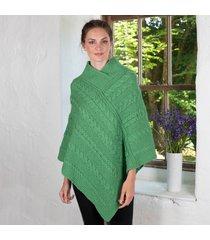 ladies aran cable knit poncho green medium/large