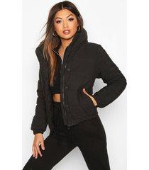 crop funnel neck padded jacket, black