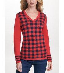 tommy hilfiger women's essential plaid sweater scarlet plaid - m