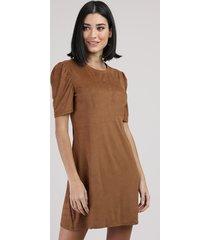 vestido de suede feminino curto manga bufante caramelo