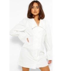 blouse jurk met pofmouwen en oversized kraag, wit