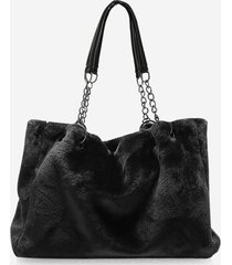 solid plush chain rectangle handbag
