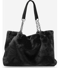 solid plush chain rectangle handbag