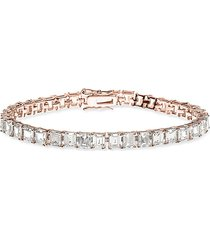 cz by kenneth jay lane women's look of real rose goldplated & crystal tennis bracelet