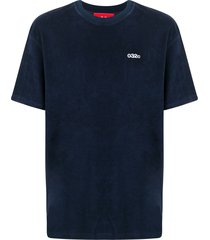 032c logo-embroidered velour t-shirt - blue