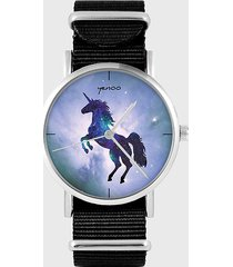 zegarek - jednorożec - czarny, nylonowy