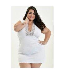 camisola plus size bella fiore modas romantic decote dona branco