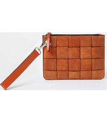 river island womens orange suede weave clutch handbag