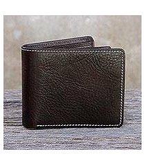 men's leather wallet, 'forever in dark brown' (thailand)