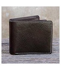 men's leather wallet, 'forever in dark brown' (thailand)