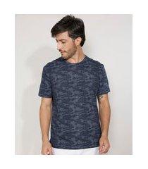 camiseta masculina manga curta camuflada gola careca azul marinho