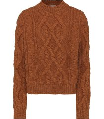 women edyta cable knit wool sweater pullover style in cognac brown