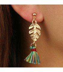 orecchini a goccia vintage orecchini a foglia oro tessuto colorato nappe orecchini di fascino gioielli etnici per le donne