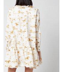 ganni women's printed cotton poplin dress - cognac - l/xl