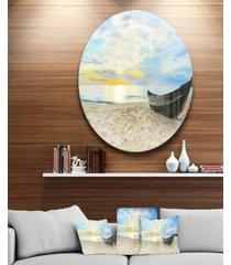 """designart 'calm beach panorama' photography circle metal wall art - 23"""" x 23"""""""