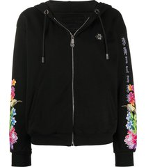 philipp plein tropical flower and animal print hoodie - black