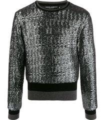 dolce & gabbana sequined sweatshirt - grey